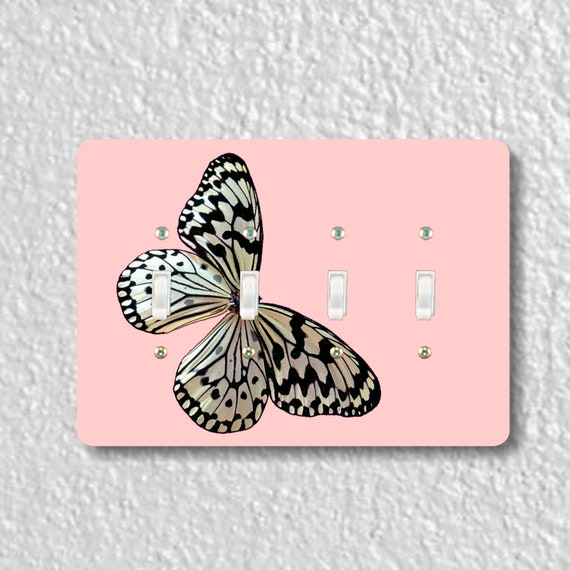White Nymph Butterfly Pink Quadruple Toggle Light Switch Plate Cover