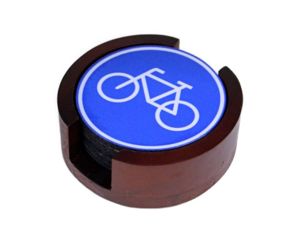 Bicycle Sign Coaster Set of 5 with Wood Holder