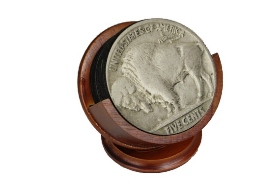 Buffalo Nickel Coin Coaster Set of 8 Neoprene Backed with Cherry Colored Pedestal Wood Holder
