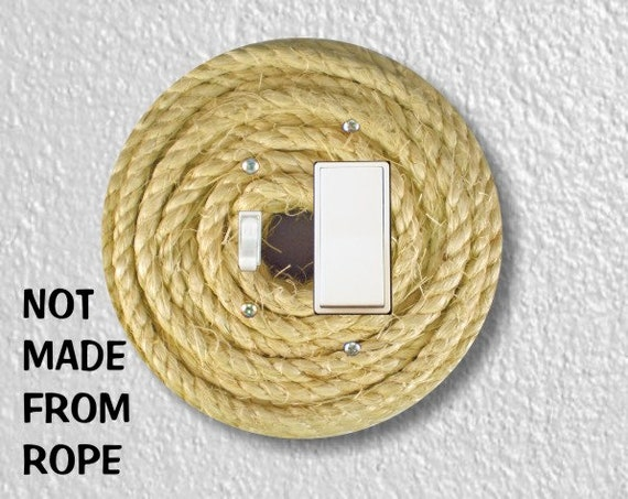 Nautical Sisal Rope Round Toggle and Decora Rocker Switch Plate Cover
