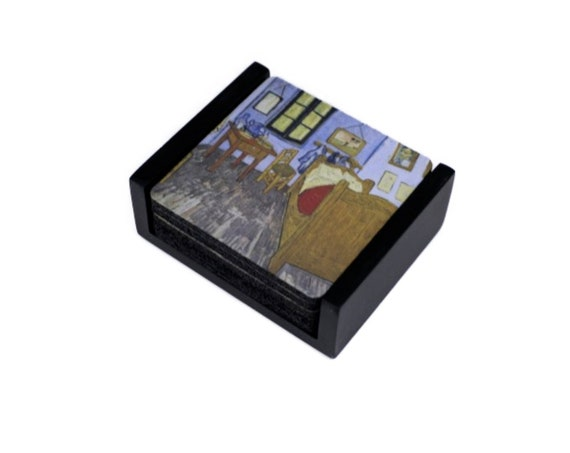 Vincent Van Gogh The Bedroom Painting Coaster Set of 5 with Wood Holder
