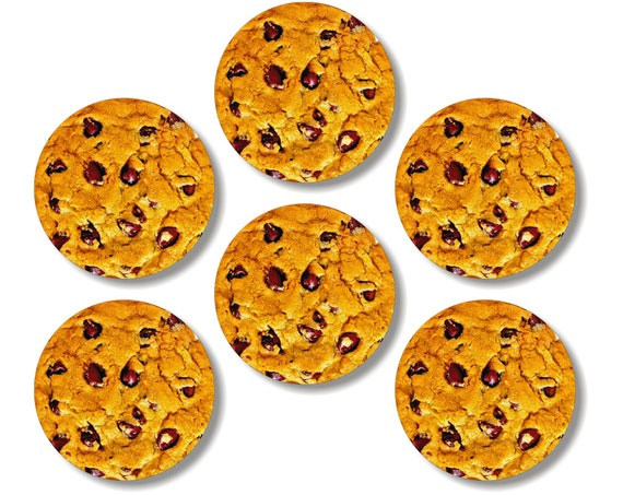 Glossy Chocolate Chip Cookie Round Cork Backed Coasters (Set of 6)