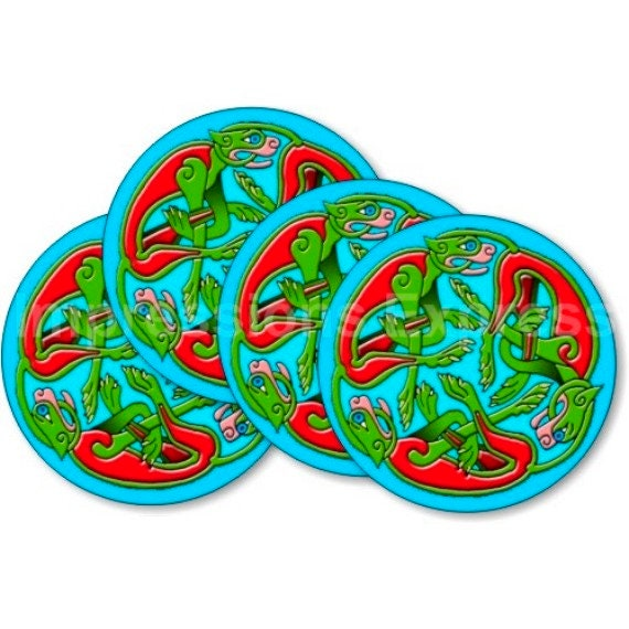 Celtic Dragon Round Coasters - Set of 4