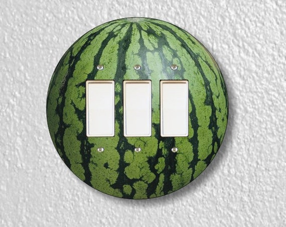 Watermelon Fruit Round Triple Decora Rocker Light Switch Plate Cover