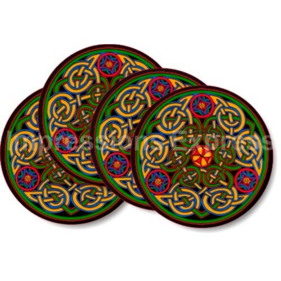 Celtic Knot Round Coasters - Set of 4