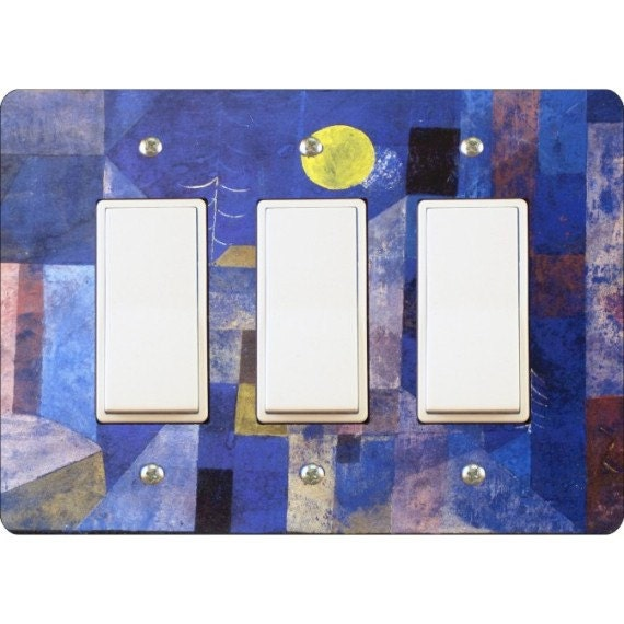 Paul Klee Moonlight Painting Triple Decora Rocker Light Switch Plate Cover