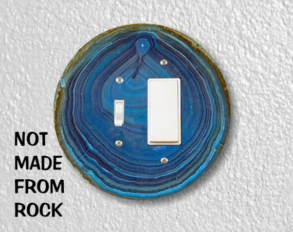 Precision Laser Cut Toggle and Decora Rocker Round Light Switch Plate Cover - Blue Geode Stone - Home Decor - wallplates