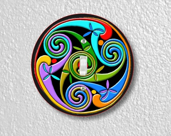 Celtic Triskelion Precision Laser Cut Toggle and Decora Rocker Round Light Switch Wall Plate Covers