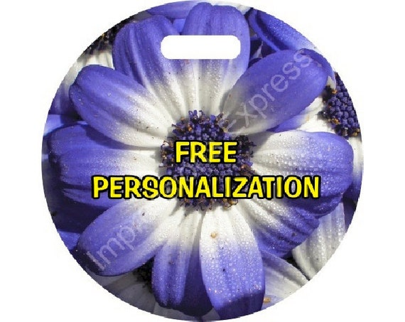 Blue Daisy Flower Round Personalized Luggage Bag Tag