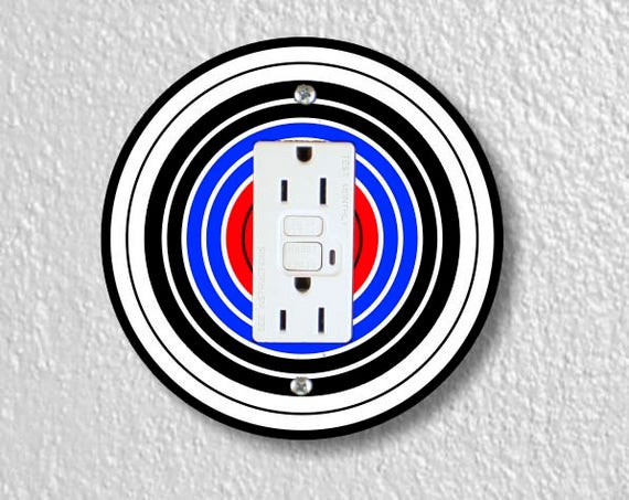 Archery Target Round Grounded GFI Outlet Plate Cover
