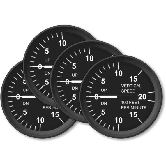 Vertical Speed Indicator Aviation Coasters - Set of 4