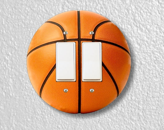 Burnt Orange Basketball Round Decora Double Rocker Light Switch Plate Cover