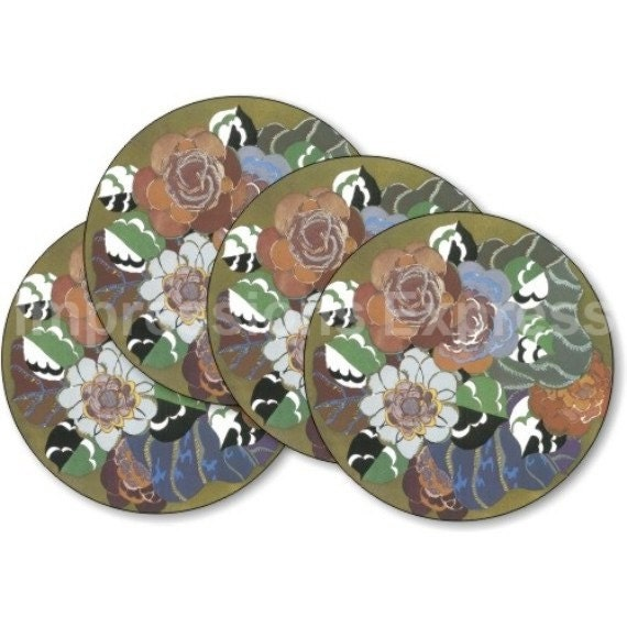 Floral Art Deco Art Nouveau Coasters - Set of 4