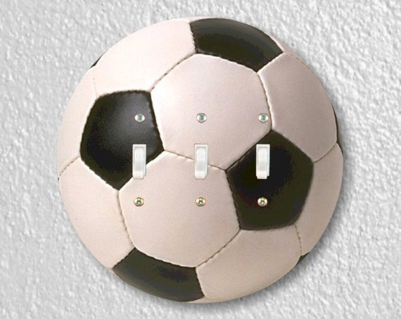 Soccer Sports Ball Round Triple Toggle Light Switch Plate Cover