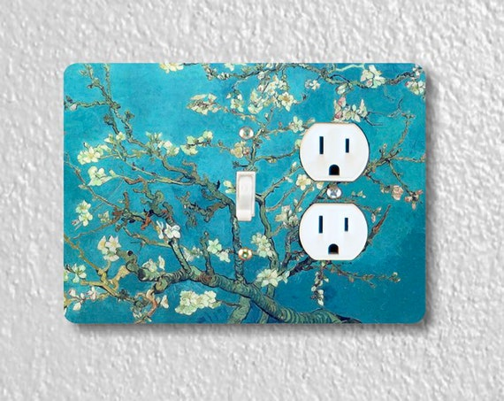 Precision Laser Cut Toggle Switch and Duplex Outlet Double Plate Cover - Almond Branches Van Gogh Painting - Home Decor - Wallplates