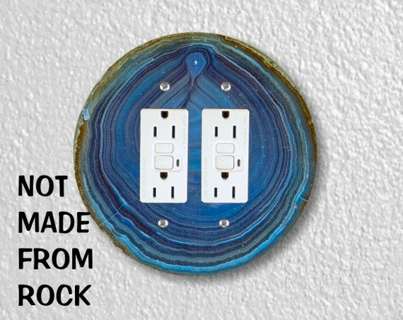 Blue Geode Stone Round Double GFI Grounded Outlet Plate Cover
