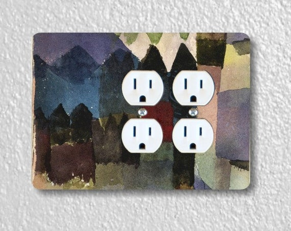 Föhn In Marc's Garden Paul Klee Painting Double Duplex Outlet Plate Cover