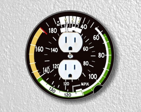 Precision Laser Cut Duplex And Grounded Outlet Round Plate Covers - Airspeed Indicator Aviation - Home Decor - Wall Decor-Wallplate