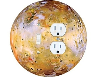 Jupiter Moon Io Space Toggle Switch and Duplex Outlet Double Plate Cover
