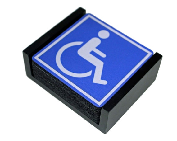 Disability Sign Coaster Set of 5 with Wood Holder