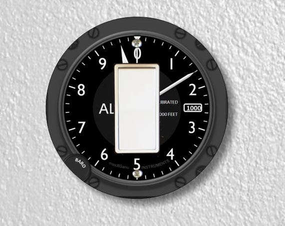 Altimeter Aviation Decora Rocker Round Light Switch Plate Cover