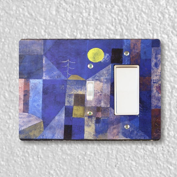 Paul Klee Moonlight Painting - Precision Laser Cut Toggle and Decora Rocker Double Light Switch Plate Cover - Home Decor - Wall Plate