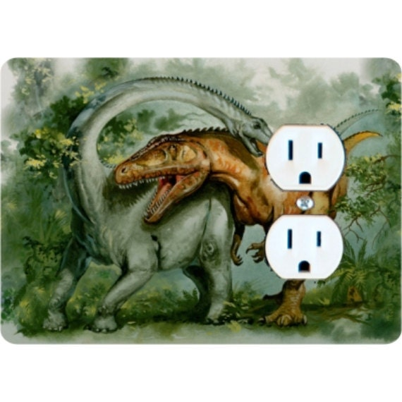 Rebbachisaurus and Giganotosaurus Dinosaur Duplex Outlet Plate Cover