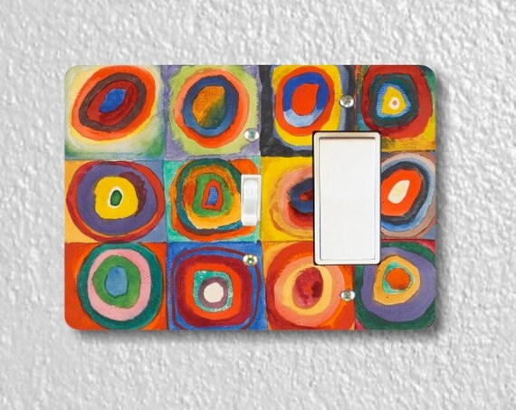 Kandinsky Squares With Concentric Circles Painting Toggle and Decora Rocker Double Switch Plate Cover