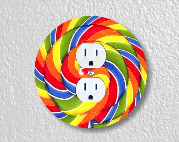 Giant Lollipop Precision Laser Cut Duplex and Grounded Outlet Round Wall Plate Covers