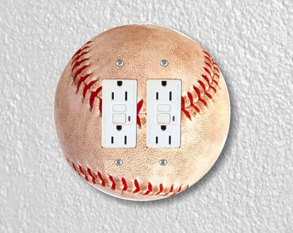 Baseball Ball Sport Round Double Grounded GFI Outlet Plate Cover