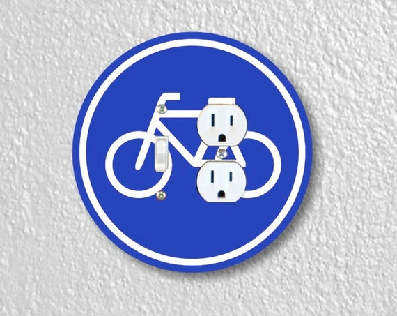 Bicycle Sign - Precision Laser Cut Round Toggle Light Switch and Duplex Outlet Double Plate Cover - Home Decor - Wall Plate