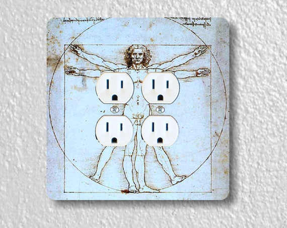 Vitruvian Man Da Vinci Drawing Square Double Duplex Outlet Plate Cover