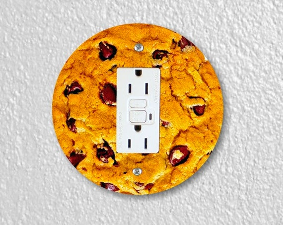 Chocolate Chip Cookie Round GFI Grounded Outlet Plate Cover