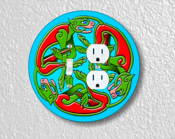 Celtic Dragon Round Toggle Switch and Duplex Outlet Double Plate Cover