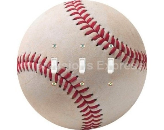 White Baseball Triple Toggle Light Switch Plate Cover