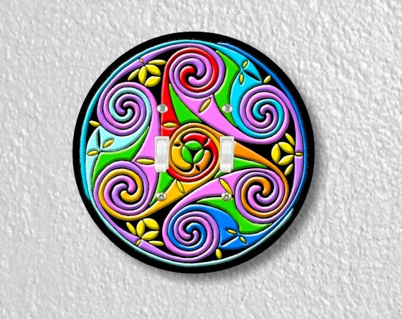 Celtic Triskel Round Double Toggle Switch Plate Cover