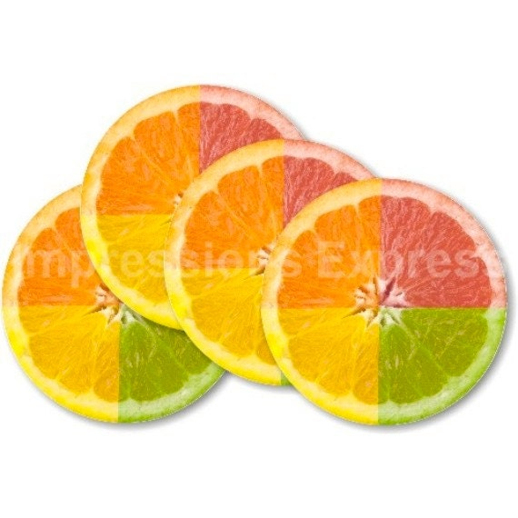 Funky Grapefruit Fruit Coasters - Set of 4