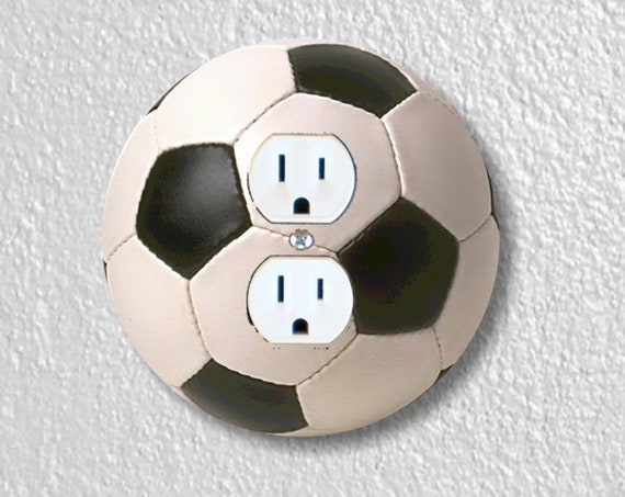 Soccer Sports Ball Precision Laser Cut Duplex and Grounded Outlet Round Wall Plate Covers