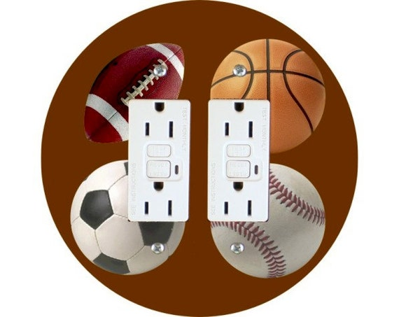 Sport Ball Double GFI Outlet Plate Cover A