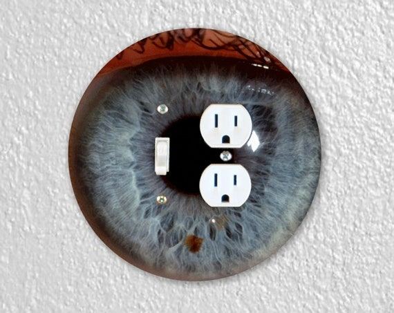 Eye Ball Precision Laser Cut Round Toggle Switch and Duplex Outlet Double Wall Plate Cover