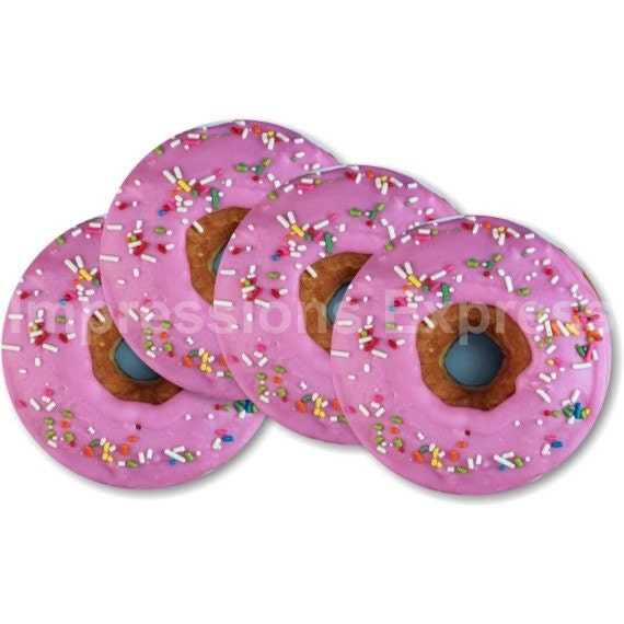 Pink Doughnut Coasters - Set of 4