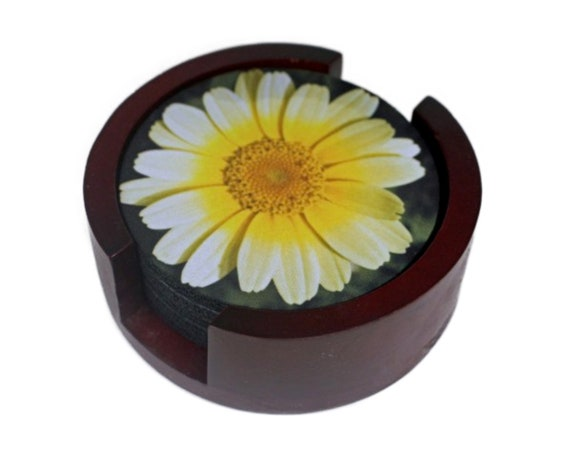 Yellow Daisy Flower Coaster Set of 5 with Wood Holder