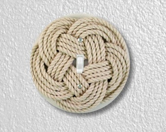 Turk's Head Knot Nautical Round Single Toggle Switch Plate Cover