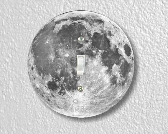 Moon From Space Precision Laser Cut Toggle and Decora Rocker Round Light Switch Wall Plate Covers
