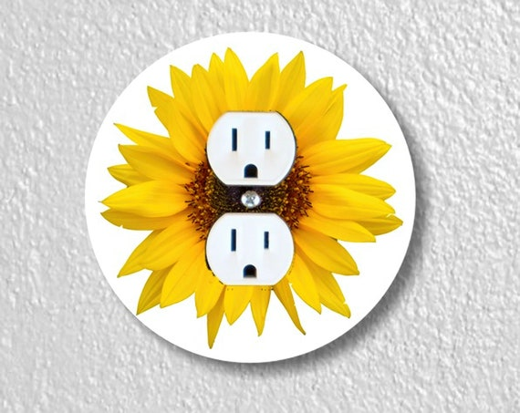 Sunflower Flower Precision Laser Cut Duplex and Grounded Outlet Round Wall Plate Covers