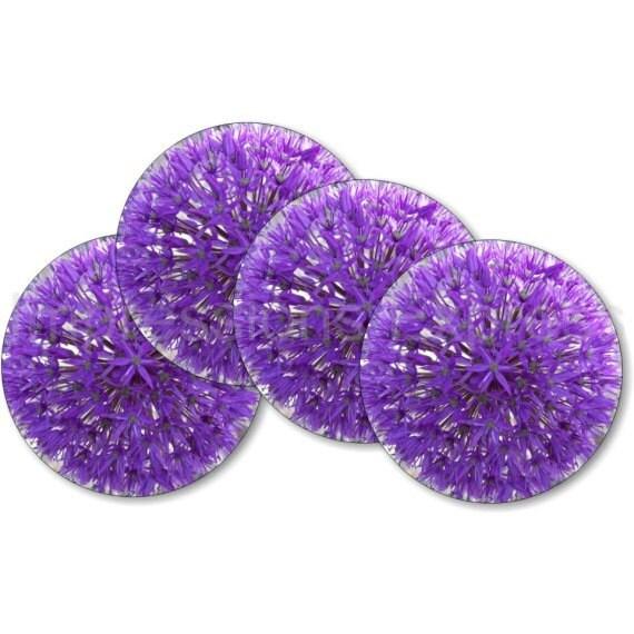 Purple Allium Flower Coasters - Set of 4