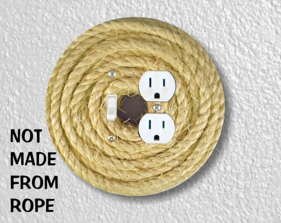 Nautical Sisal Rope Round Toggle Switch and Duplex Outlet Double Plate Cover