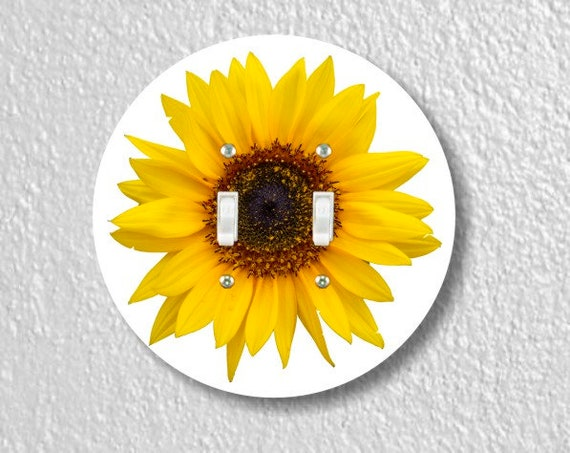 Sunflower Flower Round Double Toggle Light Switch Plate Cover