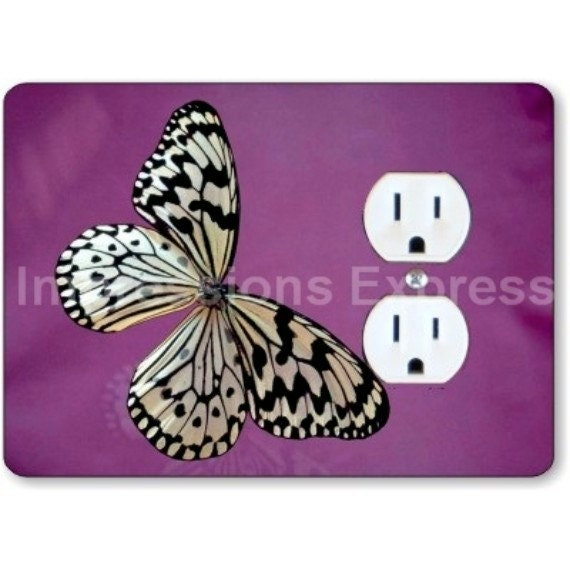 White Butterfly Insect Duplex Outlet Plate Cover