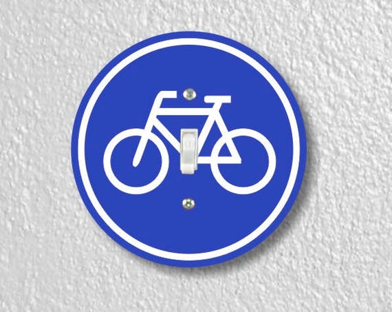 Bicycle Sign Round Single Toggle Switch Plate Cover